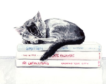 Sleepy Kitten on Books Giclee Print of Watercolor Curled up with a Book Cute Cat Lover Kitty Fuzzy Scholar Striped Tabby Black Gray Cat Lady