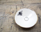 One Honey Bee Porcelain Tiny Bowl-Gold & White, Ring Dish, Candle Holder, Wedding Favor, Wedding Gift