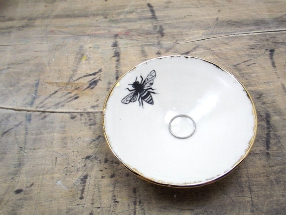Honey Bee White and Gold Porcelain Small Bowl, Jewelry Dish, Ring Dish, Dipping Bowl