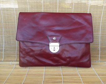 Vintage Burgundy Leather Portfolio Laptop Bag