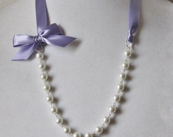 White Pearl and Lilac Ribbon Bow Necklace