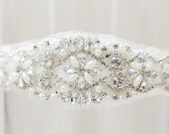 "The ""Cashmere"" Wedding Garter with pearls and rhinestones and bling beaded garter with crystals"