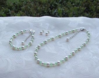 Flower Girl Jewelry Mint Green and White Swarovski Pearls Prom Sorority Jewelry Set