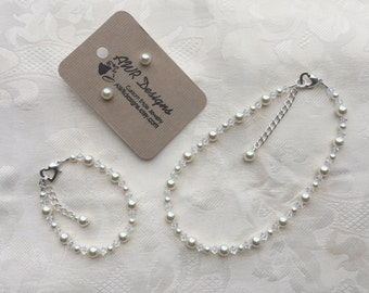 Flower Girl Jewelry Prom Sorority Pageant Jewelry Ivory Swarovski Pearls and Clear Crystals Bridal Jewelry Set