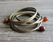 Boho Engraved Brass Bracelets: Faceted Agate Beads, Amber Color Beaded Indian Jewelry, Brown Gypsy Bohemian Stack Bracelets, Set of 6