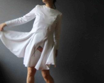 60s Marching Girls Dress Uniform White Skater Dress Medium