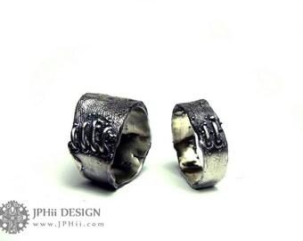 Custom Frankenstein Flesh Ring Wedding Band Set