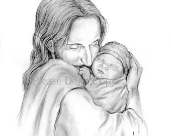 5X7 Glimpse of Heaven- Jesus Christ Holding a Newborn Baby