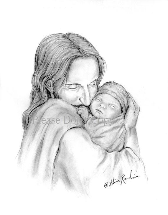 5X7 Glimpse of Heaven Jesus Christ Holding a Newborn Baby