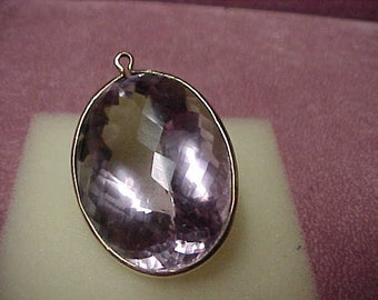 Vintage Rose de France Amethyst Solitaire, Natural and Faceted Gemstone Pendant, 124 Carat, w/Chain,14K Y/G