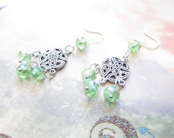 Peridot Green AB Silver Celtic Knot Chandelier Earrings
