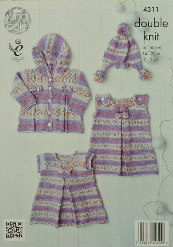 Knitting Pattern Pinafore Dress : Baby Knitting Pattern K4311 Babies Pinafore Dress Hooded
