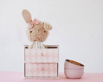 Violeta little bunny plush - made to order -  bunny bear, teddy bear, kawaii, blythe bear, artist bear, decoration, collectible bear