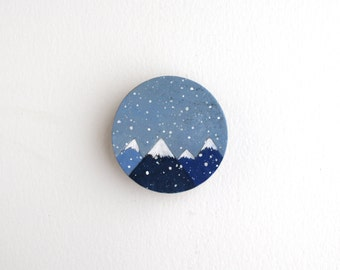 Winter Mountains Magnet Painting - Miniature Painting