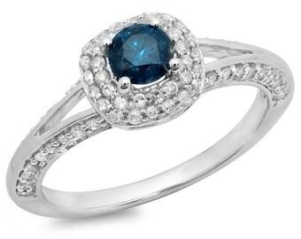 0.90 carat (ctw) 14k  gold round cut blue and  diamond ladies bridal split shank halo style engagement ring