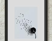 Dandelion Poster Print Flower Birds  I believe I can fly Inspiration Art Illustration Home Dorm Room Office Decor Theme Gift