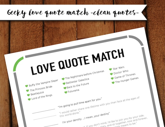 clean geeky nerdy love quote matchup printable bridal shower