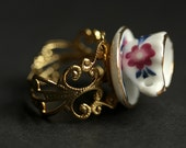 Miniature Teacup Ring. Dark Pink and Navy Blue Porcelain Tea Cup Ring. Gold Filigree Adjustable Ring. Gold Ring. Handmade Jewelry.