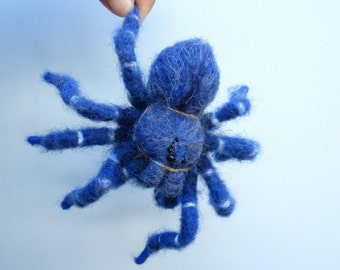 Cobalt blue, tarantula, needle felted, spider sculpture, arachnid art, creepy crawler, fiber bugs, curio shelf sitter, oddity, MADE TO ORDER