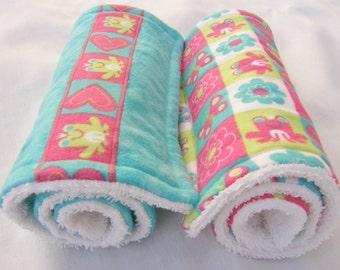 Baby Burp Cloths-Set of Two-Triple Layer-Teal/Frog-Heart Print-Girl
