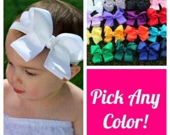 Baby Girl Headband, White Baby Headband, Bow Baby Headband, Baby Headbands