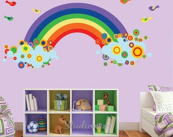 20% OFF SALE Rainbow Wall Decal with BIRDS Reusable