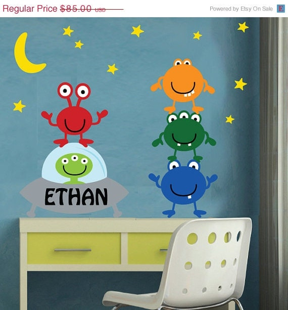 20% OFF SALE REUSABLE Alien Wall Decal - M800Swa