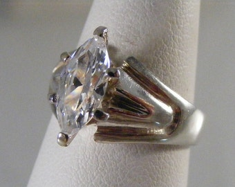 Vintage Cubic Zirconia Marquise Engagement Ring in Sterling Silver.....  Lot 4195