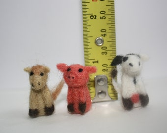 miniature farm animal set needle felted cow pig horse