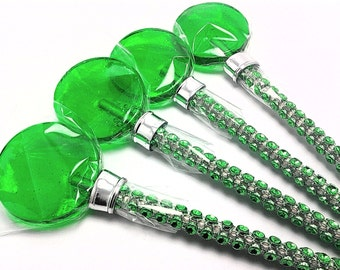 12 GREEN LOLLIPOPS with Bling Sticks - Wedding and Bridal Lollipop Favors, Party Favors, Variety of Colors