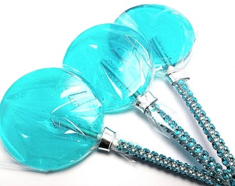 12 LARGE 2.5 INCH TURQUOISE Lollipops with Bling Stick - Bridal Shower and Birthday Favors