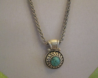Vintage 925 Sterling silver Turquoise necklace,Thailand sterling silver jewelry,bluish-green stone,back to school college gift,elegant stone