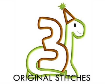 Third 3rd Birthday Dinosaur Applique and Embroidery Design File 4x4 5x7 6x10