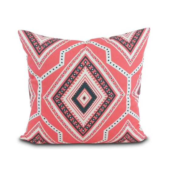 Modern Southwest Pillow : Items similar to Santa Fe Coral Pillow. Southwest Desert Style. Modern geometric pink pillow ...