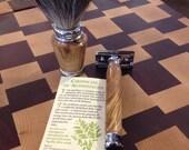 Olive Wood Safety Razor and Brush set chrome ...Wood from Israel