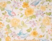 One Tailored Queen/King Bedskirt and Two Euro Shams -  Floral and Blue Birds - Yellow/Pink/Green