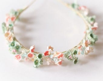 Forget Me Not Headband - Mint / Peach / Orange Vintage Millinery Flowers on a Gold Headband with Tiny Crystals - Boho Chic