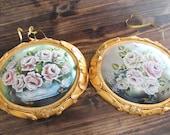 French Victorian Style - Signed Annette Stevenson - Hand Painted Roses Gilt Frame