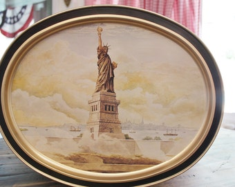 Collectible Sunshine Biscuit Tin, Large Oval Metal Tin Tray,The Statue of Liberty