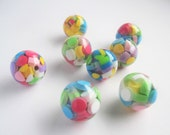 10 multicoloured resin round beads - 0.75inches / 20mm