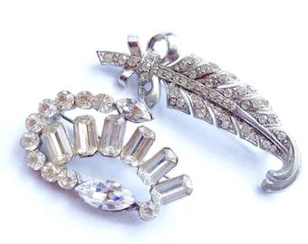 Set of 2 Rhinestone Brooch Lot  Retro Vintage Fashion Mad Men Glam Jewelry