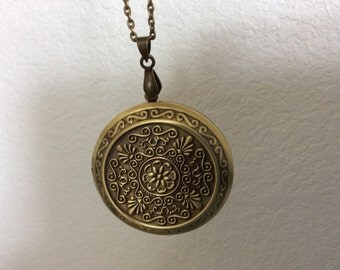 Locket Necklace or Bracelet Antique Brass