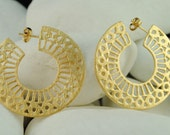 """Gold Plated Sterling Silver Hoop Earrings """"Lace"""" (M) - FREE Shipping"""