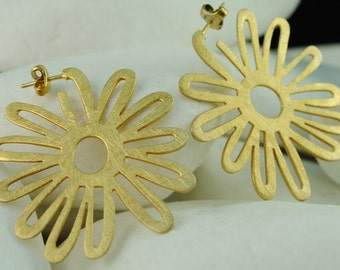 Flower Gold Plated Sterling Silver Hoop Earrings- FREE Shipping