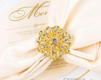 90pcs Wedding Napkin Rings, Rhinestone Napkin Rings Table Decor Wedding Bling, 407-G-N