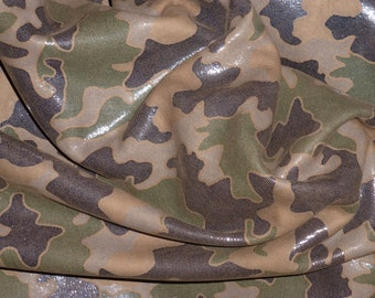 Leather 3 - 6 sq ft Shiny CAMO Dark Brown and KHAKI Olive Green on Brown Cowhide 2.5 oz / 1 mm PeggySueAlso™ E2030-05