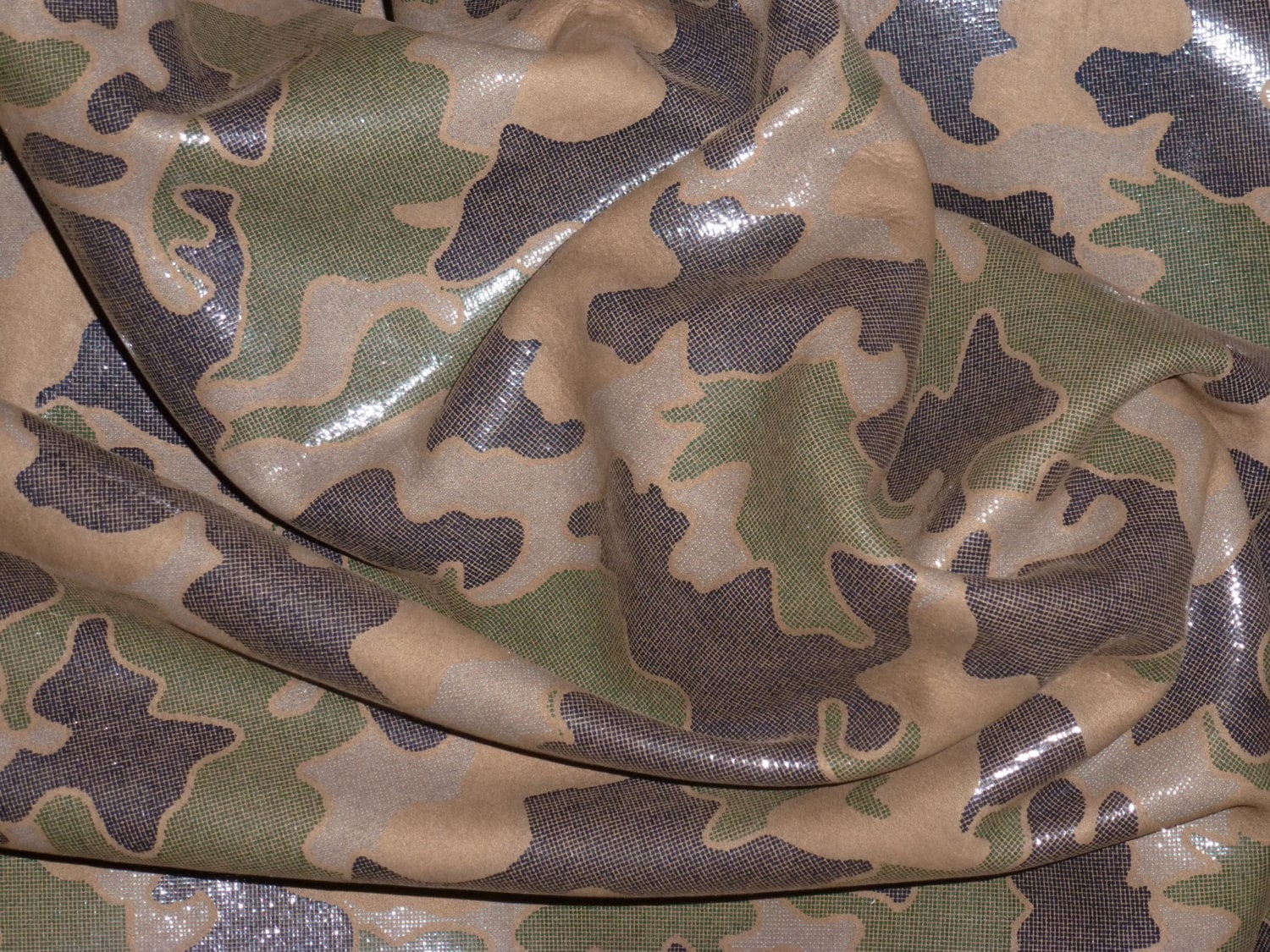 "Leather 5""x11"" CAMO Dark Brown and Khaki Olive Green on 2.5"