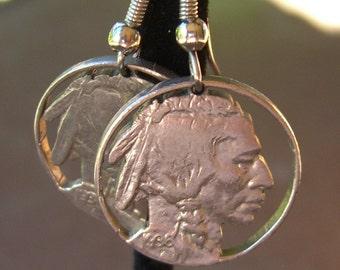 Indian Head Buffalo Earrings Cut Coin Vintage 1930s Nickels