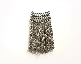 Silver Metal Chain Fringe Pendant, Tassel, Necklace, Jewelry Supply S52