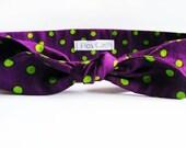 Purple and Green Polka Dot Headband - Woman Hair band - Halloween headband - Headbands - Turbans - Bandanas